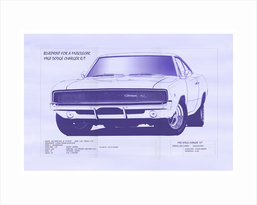 Blueprint posters blueprint prints blueprint for a muscle car by dave mcbride malvernweather Image collections