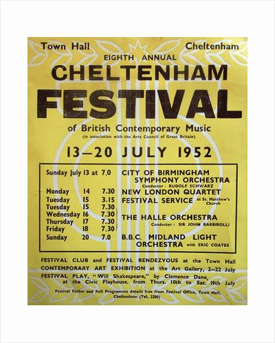 1952 Cheltenham Music Festival Programme Cover by Cheltenham Festivals