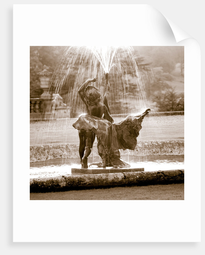 Castle Hill, Devon: Black And White Toned Image Of A Fountain Beside The House by Clive Nichols