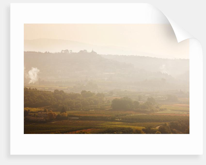 Provence, France: Garden Of Nicole De Vesian, La Louve: View Of Bonnieux At Dawn by Clive Nichols