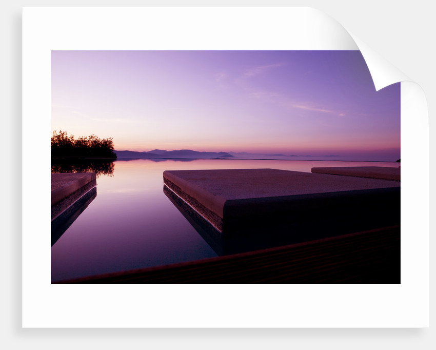 The Rou Estate, Corfu: The Swimming Pool At Dawn With The Albanian Mountains Behind by Clive Nichols