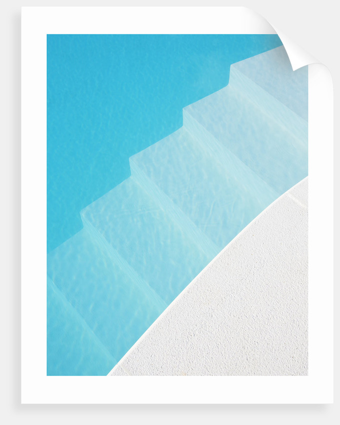 The Rou Estate, Corfu: The Swimming Pool - White And Blue Abstract Image by Clive Nichols
