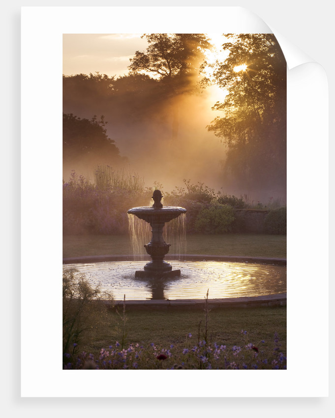 Narborough Hall Gardens, Norfolk: Dawn Light On The Fountain Near The Blue Garden by Clive Nichols