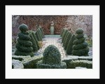 Woodpeckers, Warwickshire, Winter: Formal Garden In Frost With Knot Garden, Twisted Topiary Shapes , Brick Path, Statue And Beech Hedge by Clive Nichols