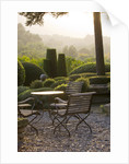 Provence, France: Garden Of Nicole De Vesian, La Louve: Gravel Terrace Beside The House At Dawn With Metal Table And Chairs And Clipped Topiary Shapes by Clive Nichols