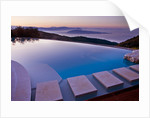 The Rou Estate, Corfu - Designer Dominic Skinner - The Swimming Pool At Dawn With Views Of The Albanian Mountains In The Background by Clive Nichols