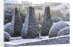 Pettifers, Oxfordshire: Garden In Snow In Winter - The Parterre In Winter With Clipped Box And Yew. by Clive Nichols