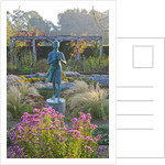 Waterperry Gardens, Oxfordshire: The Hedged In Formal Garden At Dawn With Box And Berberis Hedging And Topiary - Girl Statue Called The 'lamp Of Wisdom' by Clive Nichols