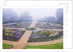 Ragley Hall Garden, Warwickshire: The Rose Garden In Mist Seen From The Roof Of The Hall by Clive Nichols