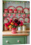 Cornishware on kitchen dresser by Clive Nichols
