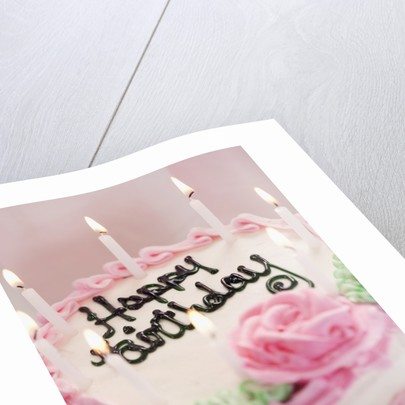 Birthday Cake With Lit Candles by Corbis