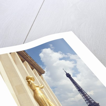 View of statues with Eiffel Tower in the background, Paris, France by Corbis