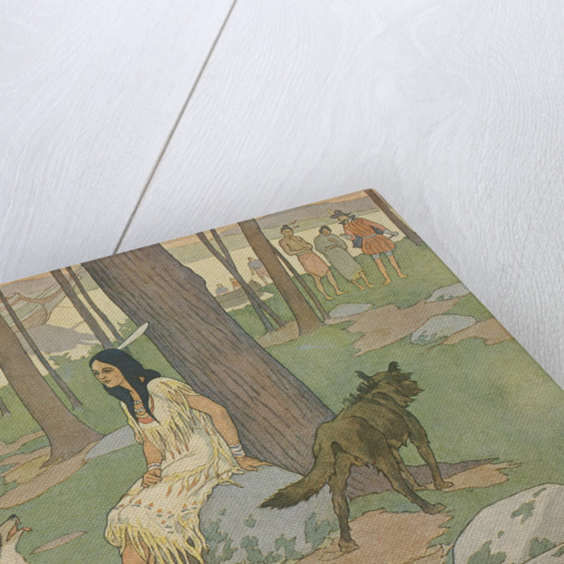 Book Illustration of Pocahontas Waiting in Woods by E. Boyd Smith