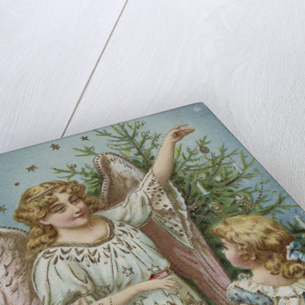 A Merry Christmas Postcard with an Angel and Little Girl by Corbis