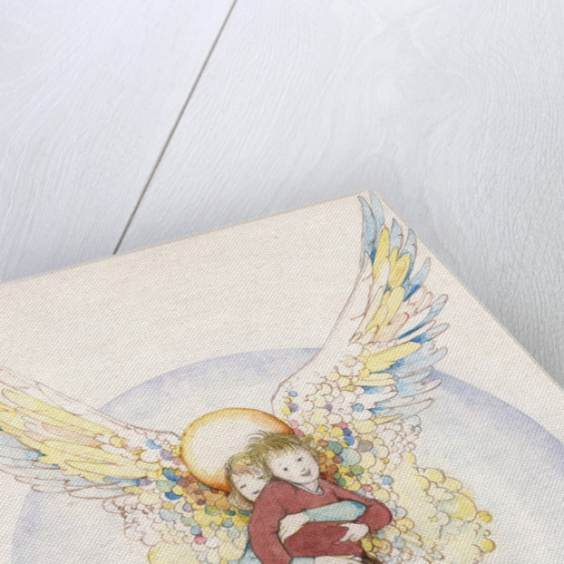 Illustration of an Angel Holding a Boy by Paul Cline