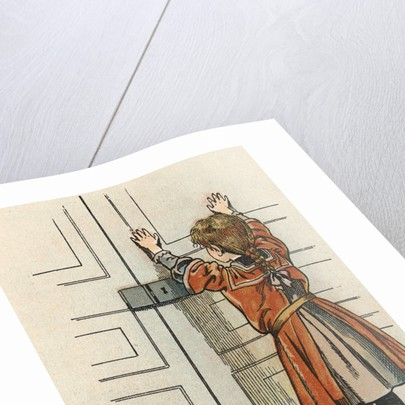 Illustration of a Child by a Door by Jacques Onfroy de Breville