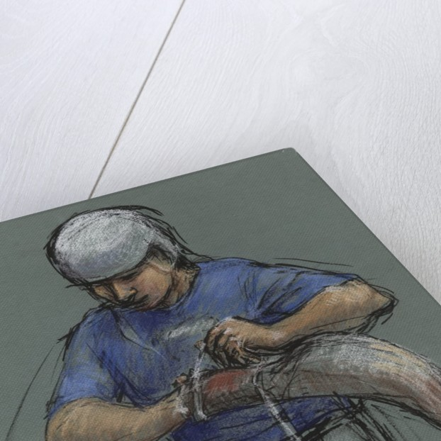 Illustration of a Jai Alai Player Putting on a Cesta by Alexandra Day