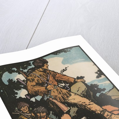 Illustration of Daniel Boone Blazing a Trail by J.L. Kraemer