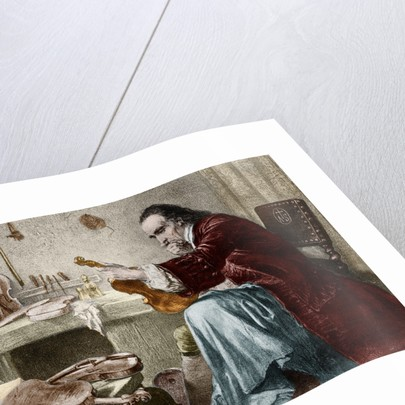Illustration of Antonio Stradivari in His Atelier by Corbis