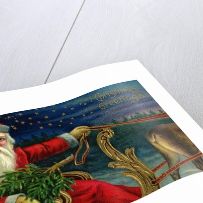 Christmas Greetings Postcard with Santa Claus Holding Reins by Corbis