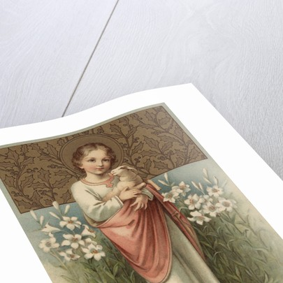 Easter Postcard with Young Jesus Christ Holding Lamb by Corbis