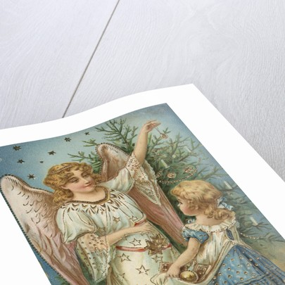 A Merry Christmas Postcard with Angel and Little Girl by Corbis