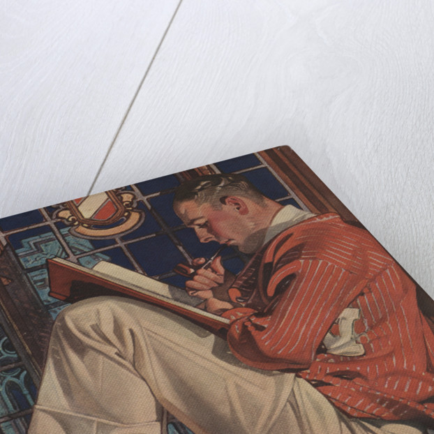 Illustration of Man Reading and Smoking Pipe by Corbis