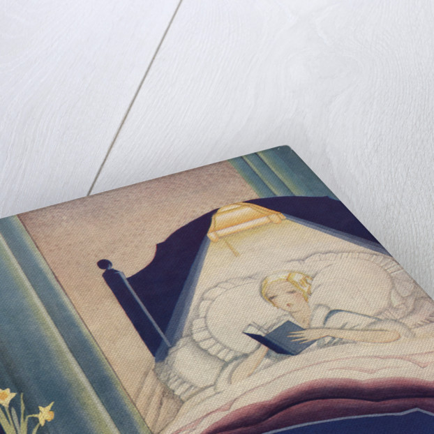 Illustration of Woman Reading in Bed by Corbis