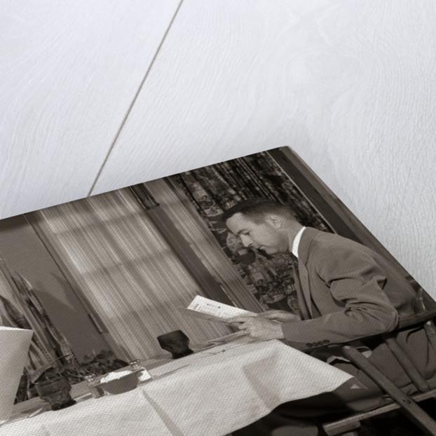 1950s Couple Man Woman Reading Restaurant Menus by Corbis