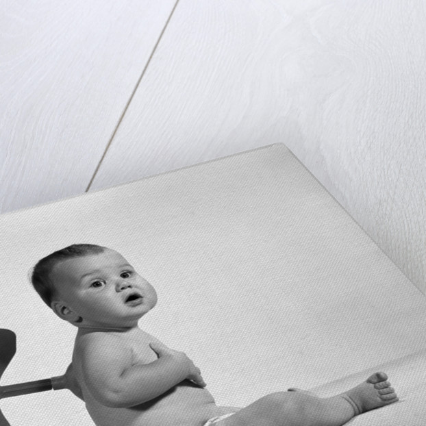 1960s 1970s Seated Baby In Diaper With Windup Key In His Back by Corbis