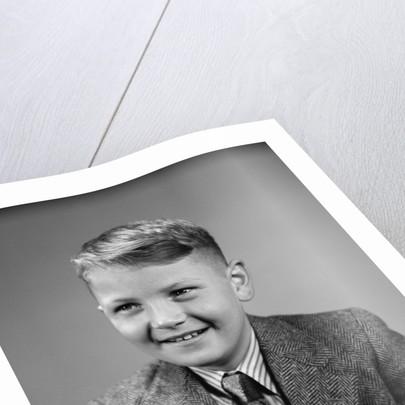 1940s 1950s Boy Portrait Wearing Neck Tie Herringbone Jacket School Photo by Corbis