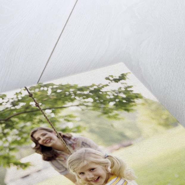 1970s Woman Mother With Girl Daughter Swinging Playing On Rope Swing by Corbis