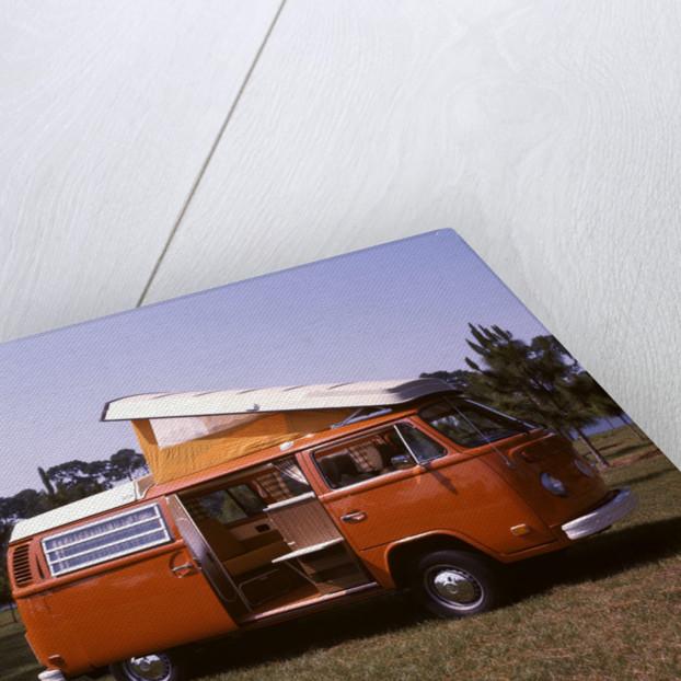 1970s Orange and White Volkswagen Bus Westfalia Motor Home by Corbis