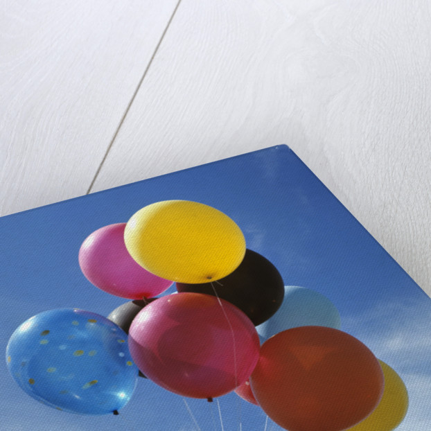 Bunch Of Multi Colored Balloons Against A Blue Sky by Corbis