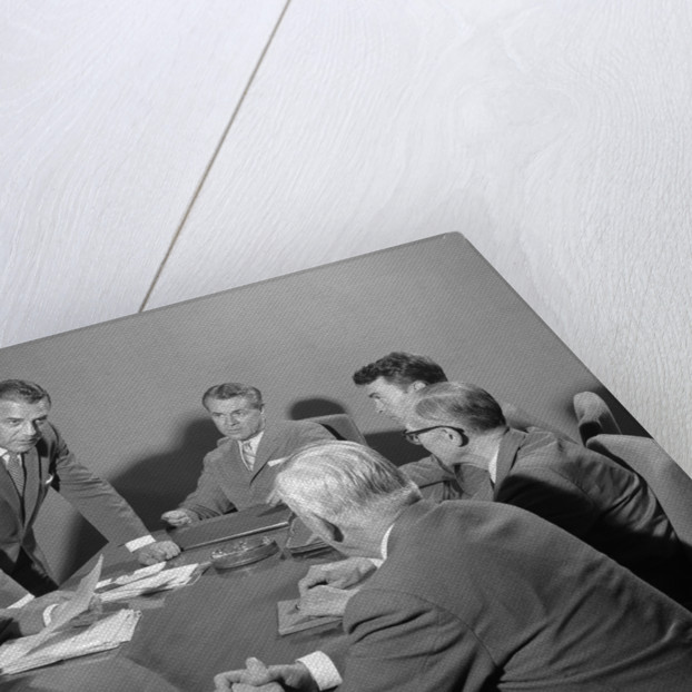 1950s Six Businessmen Executives Around A Conference Table Talking by Corbis