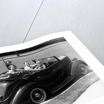 1940s Family Of Four In Convertible Ford V-8 Sedan At Camera by Corbis