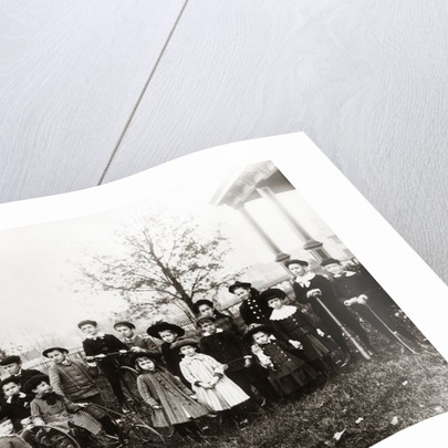 1890s 1900s Posed Group 18 Neighborhood Children On Front Yard by Corbis