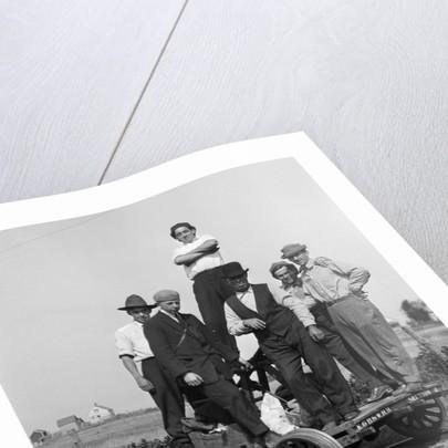 1890s 1900s Portrait Men Railroad Workers Standing On Handcar Outdoor by Corbis