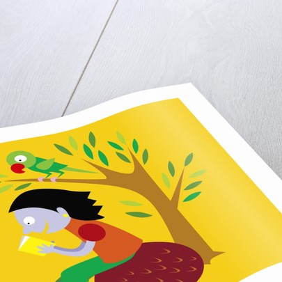 Girl and bird reading a book by Corbis
