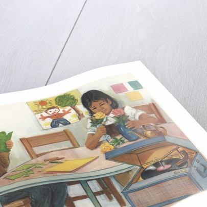 Illustration of School Children Working on Projects by Corbis
