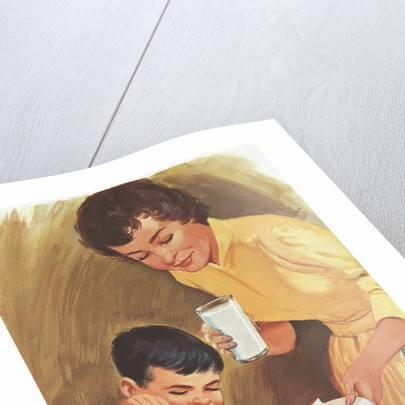 Illustration of Mother Serving Lunch to Son by Corbis