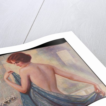 Woman with towel in bath by Corbis