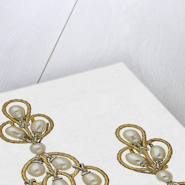 A pair of cultured pearl and gold ear pendants by Buccellati