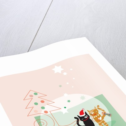 Two cats next to a Christmas tree and stars on a pink background by Corbis