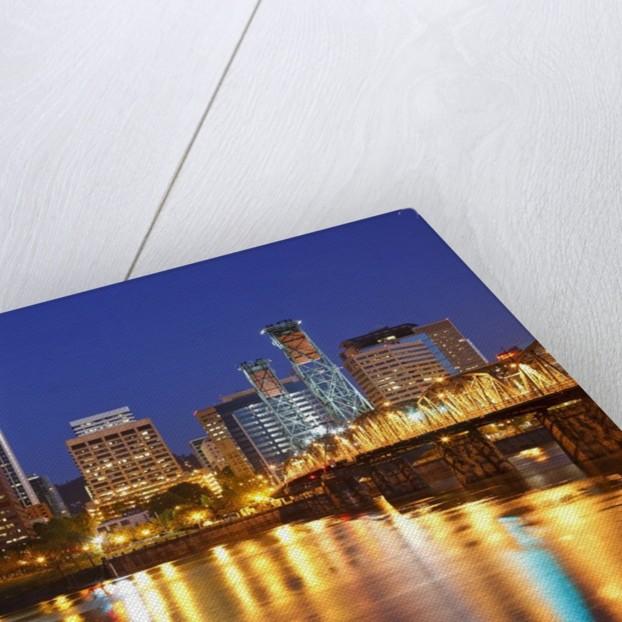 Portland, Oregon and Willamette River at dawn by Corbis
