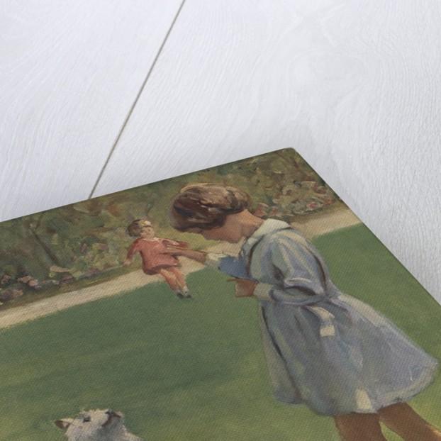 Illustration of girl teaching dog trick by Corbis