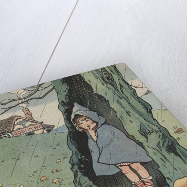 Illustration of girl watching goblins sitting under mushrooms by Corbis