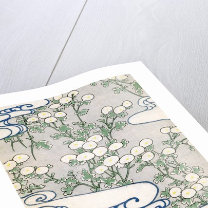 Woodblock print of blooming vines and wave patterns by Corbis