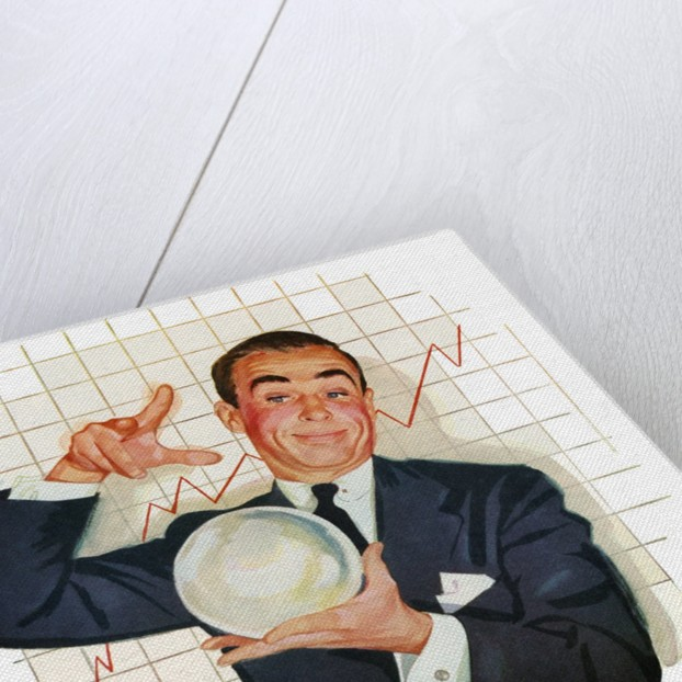 Businessman Reading the Future in a Crystal Ball. by Corbis