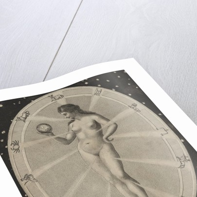 Female nude surrounded by astrological symbols by Corbis